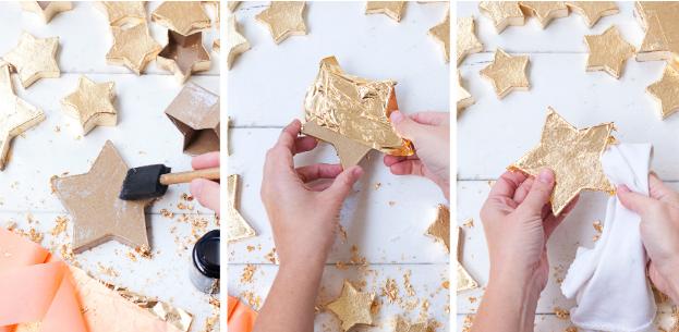 como decorar unas cajas de papel mache en forma de estrellas con pan de oro, manualidades faciles para decorar la casa