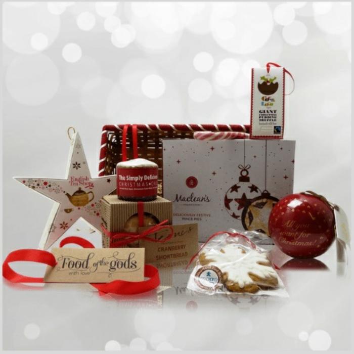 canastas navideñas con tratos de navidad especiales, ideas para regalar en las celebraciones navideñas, tratos navideños unicos