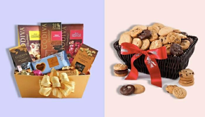 cestas con caramelos y dulces navideños, regalos para novio en navidad, canastas con chocolates y galletas blandas con chispas