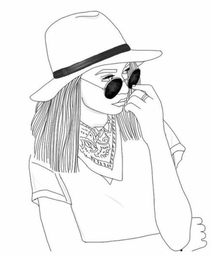 dibujo blanco y negro, ideas de dibujos de chicas lindas, motivos para redibujar fáciles de hacer, dibujos faciles a lapiz