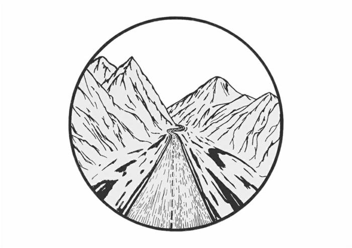 pequeño detalle con círculo y dibujo de carretera con montañas alrededor, dibujos faciles a lapiz, dibujos que inspiran