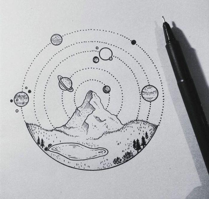 preciosos detalles geométricos para dibujar, dibujos faciles a lapiz, montaña, lago, planetas, ideas de pequeños dibujos simbolicos