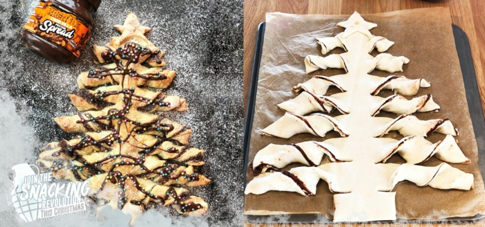 postres faciles y rapidos de hacer en casa, ideas de postres con nutella y hojaldre, fotos de platos navideños con recetas