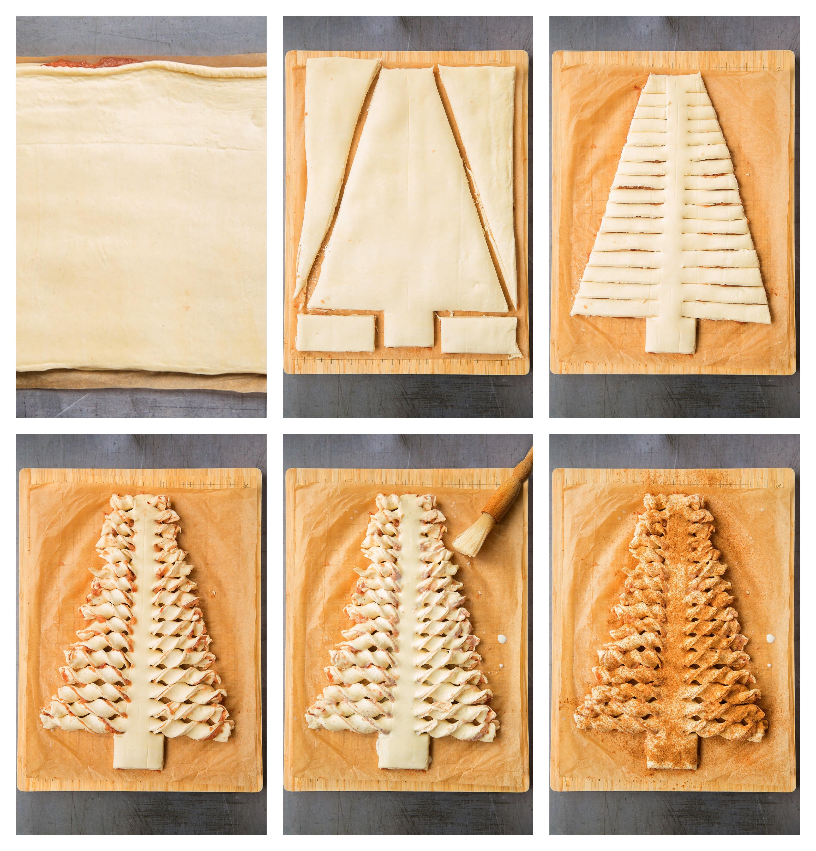 como hacer una empanada dulce con manzanas y canela paso a paso, árbol de navidad de hojaldre receta en fotos
