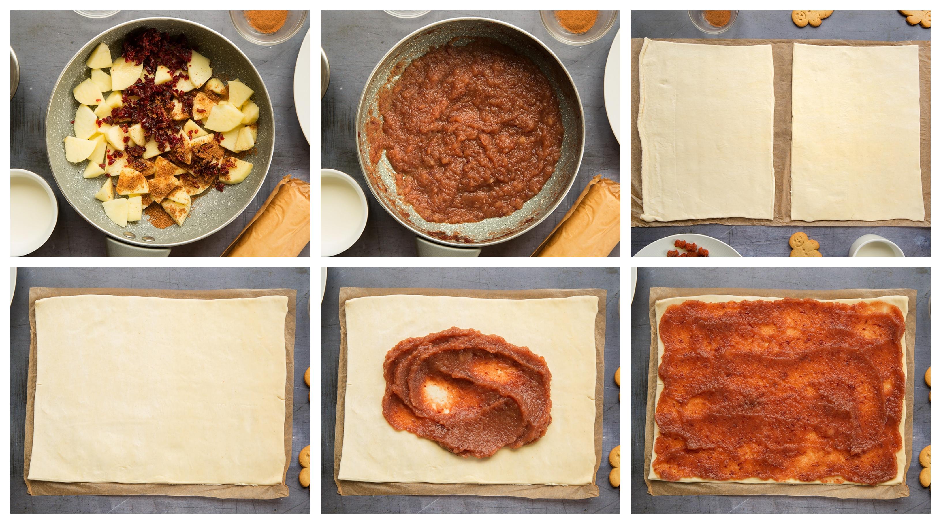 como hacer empanadas dulces con manzanas y masa de hojaldre paso a paso, árbol de navidad de hojaldre en fotos