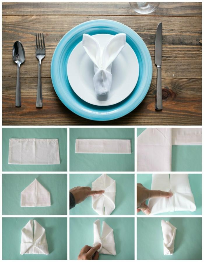 doblar servilletas navidad y pascua paso a paso, servilleta de tela en color blanco doblada en forma de un conejo