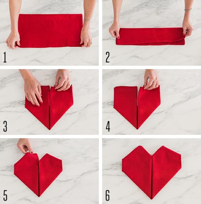 ideas de manualidades para San Valentín originales, como doblar servilletas de papel de forma original paso a paso