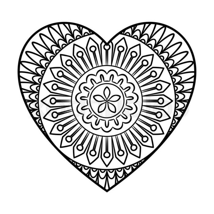 detalles dibujados con mandalas, dibujo de corazon con mandalas, ideas de dibujos fáciles de hacer, dibujos para calcar