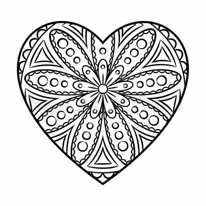 dibujos con mandalas, dibujos para calcar originales, corazón con mandalas, ideas de dibujos simbolicos y sencillos