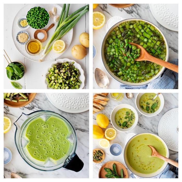 como hacer una sopa de esparragos, guisantes y otros ingredientes, recetas de cremas nutritivas, energéticas y saludables