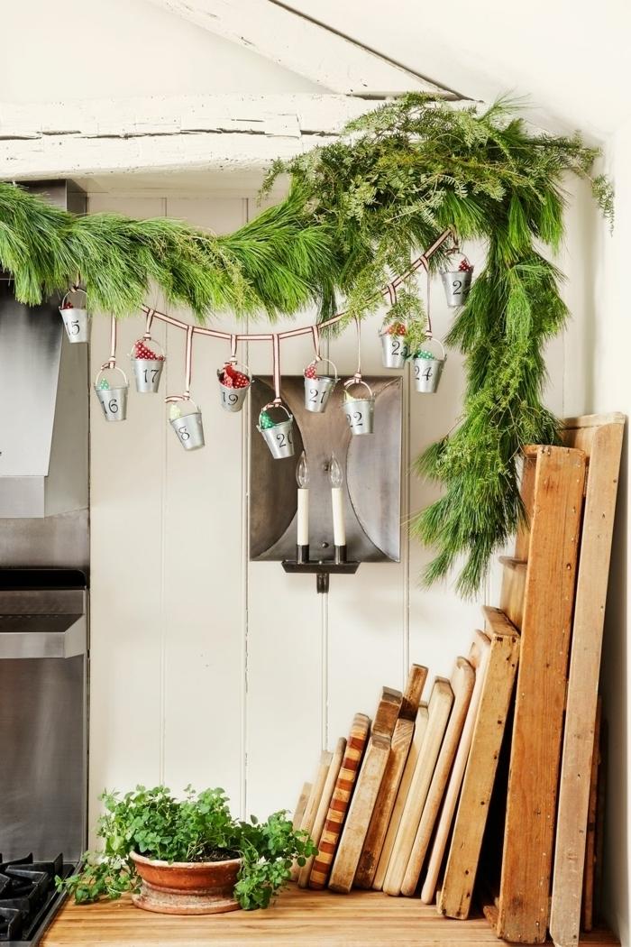 preciosas ideas sobre como decorar la casa en estilo rústico moderno, calendario de adviento DIY, más de 90 ideas bonitas