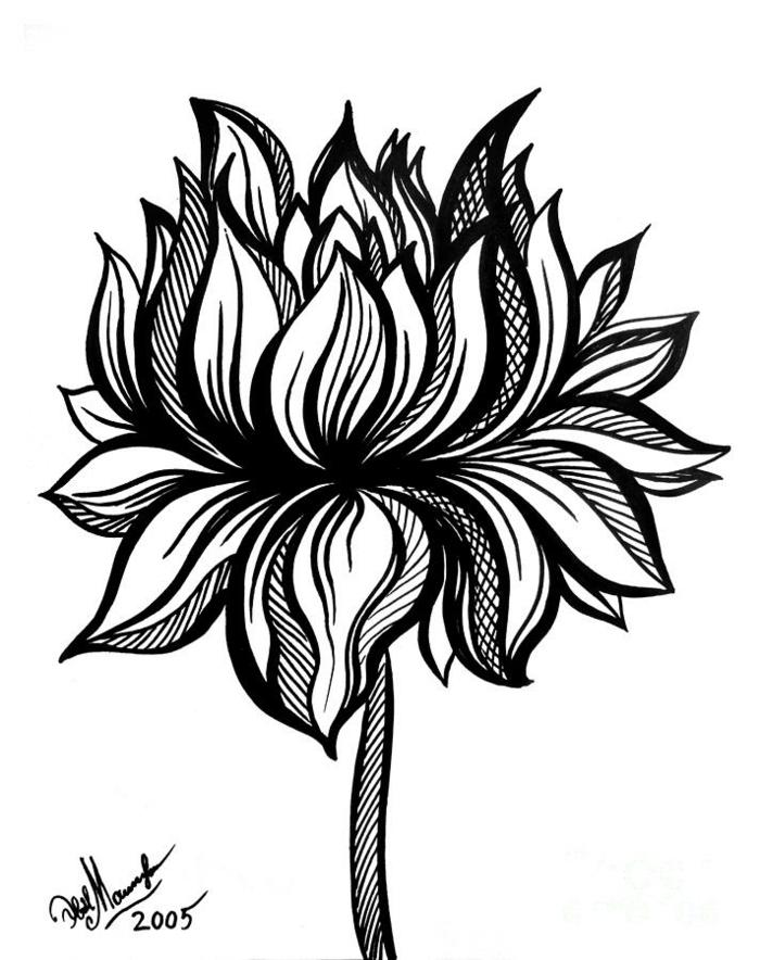 dibujos de flores para calcar, dibujos bonitos que inspiran, ideas de dibujos originales y fáciles de hacer a mano, aprender a dibujar
