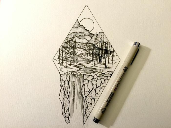diseños de dibujos con detalles geométricos, dibujos originales y fáciles de hacer con paisajes, dibujos de detalles de la naturaleza