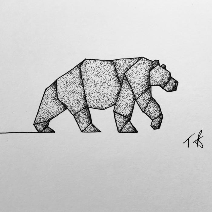 dibujos de animales en estilo geométrico, ideas de diseños de tatuajes, dibujos chulos y fáciles de redibujar o calcar