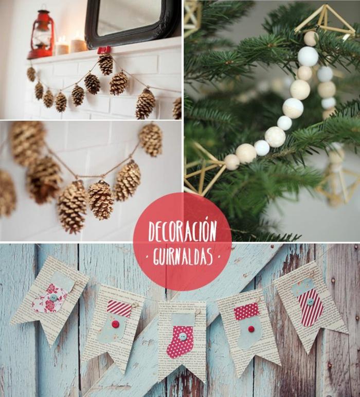 geniales ideas de guirnaldas DIY de materiales reciclados, manualidades de navidad faciles con reciclaje, fotos de casas decoradas