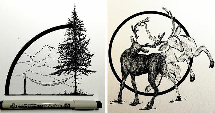 dos atractivos diseños para redibujar o calcar, ideas de dibujos originales y fáciles de hacer, dibujos geométricos para tatuajes