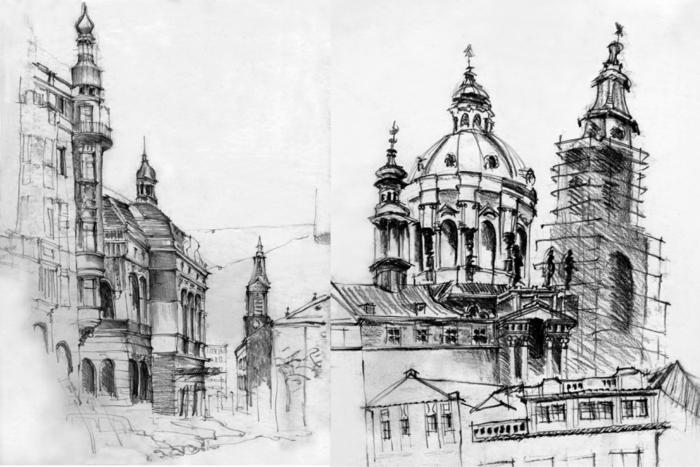 imagenes en blanco y negro, dibujos de edificios y ciudades con sombras, diferentes técnicas para aprender a dibujar con lápiz