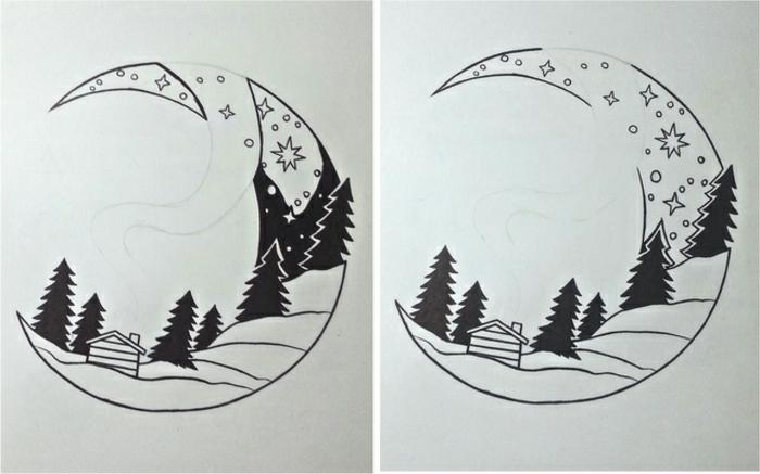 imagenes en blanco y negro y dibujos inspiradores en lápiz, precioso motivo con luna y árboles, ideas de dibujos fáciles