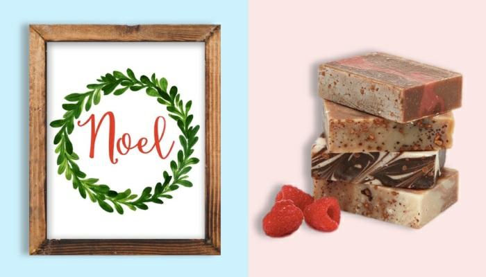 ideas de regalos navidad para mujer, cuadro decorativo con marco de madera, jabones aromaticos con aromas navideñas