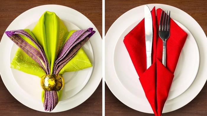 dos variantes super creativos sobre pliegue de servilletas, ideas para Navidad, mesas decoradas para Navidad en 90 imágenes