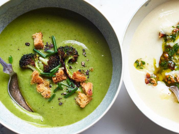 fotos de sopas caseras ricas y fáciles de hacer, sopa de verduras receta casera, sopa de brocoli con picatostes y cebollin