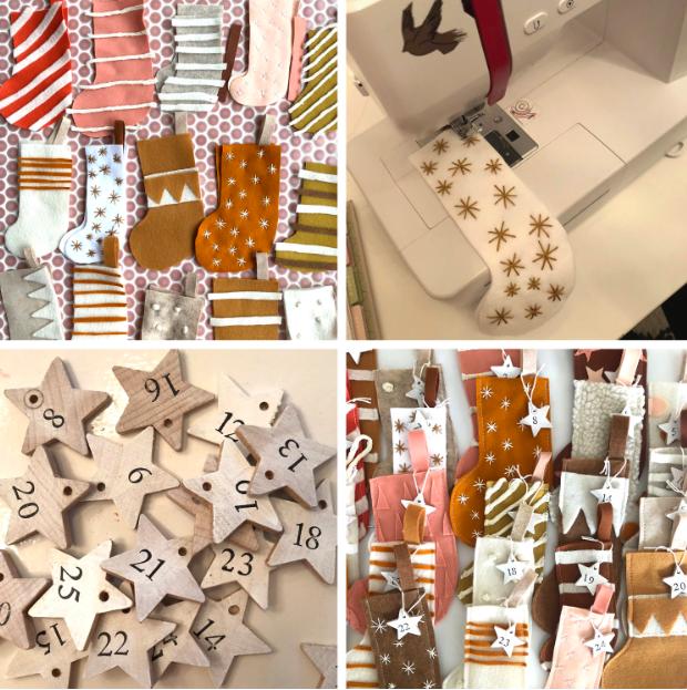 ideas sobre cómo hacer un calendario navideño de tela, calendario de adviento personalizado, ideas coloridas y festivas