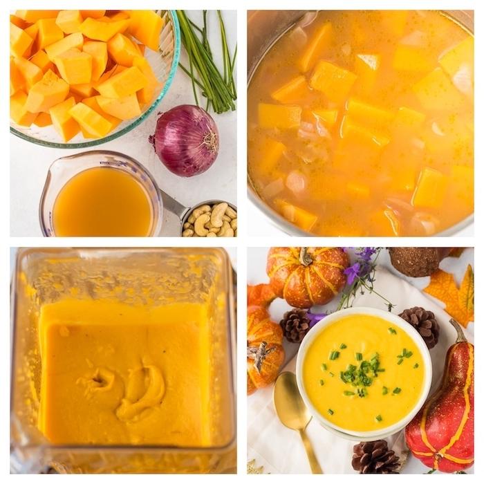 recetas de sopas caseras fáciles de hacer, sopas cremosas paso a paso, ideas sobre como preparar una sopa de calabaza, anacardos y cebolla roja