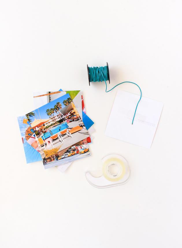 como hacer un árbol DIY con fotos y guirnalda azul, como hacer un arbol de navidad casero paso a paso, ideas de decoración navideña