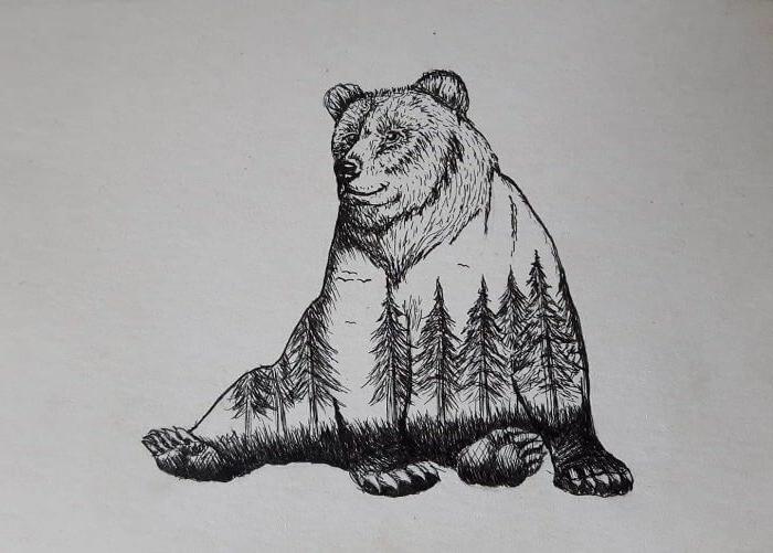 dibujo de oso con motivos de naturaleza, preciosas ideas de dibujos con motivos naturales, aprender a dibujar