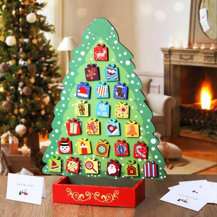 bonito calendario de adviento para regalar, ideas de manualidades Navidad originales y faciles de hacer, decoracion navidad