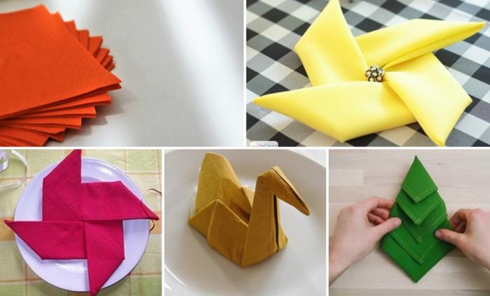 alucinantes ideas sobre detalles para hacer con servilletas dobladas, como doblar servilletas elegantes, servilletas de papel en colores