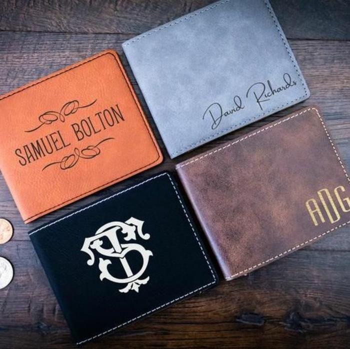monederos de cuero personalizados para regalar en navidad, ideas de regalos masculinos especiales, fotos de regalos