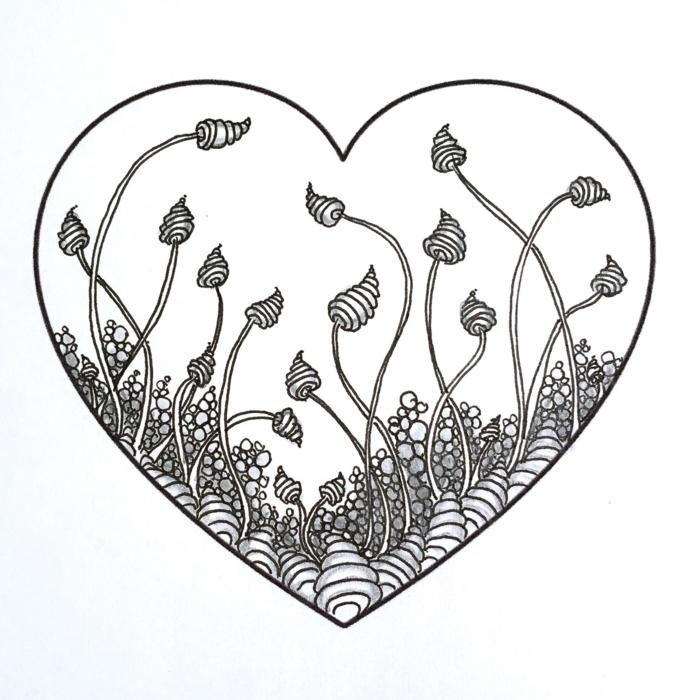 geniales ideas de pequeños dibujos para principiantes, ideas de dibujos simbolicos, corazon con motivos florales bonitos