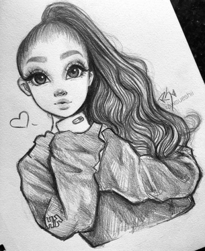 niña con ojos granes y pelo recogido en coleta, ideas de dibujos de chicas lindas, originales ideas de dibujos para dibujar chulos