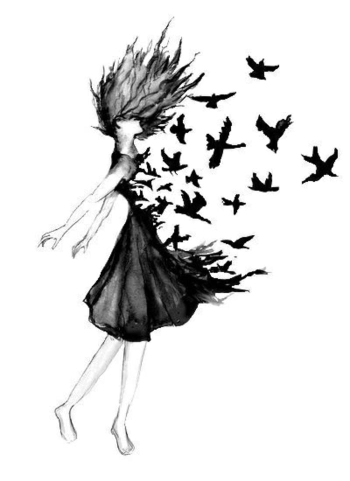 chica descomponiéndose en pájaros, dibujos super inspiradores para pequeños y adultos, dibujos para avanzados