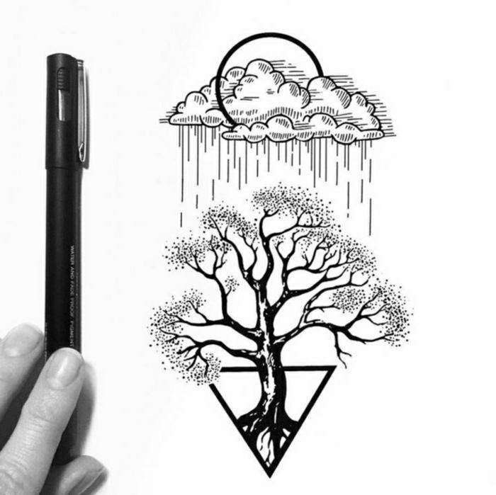 dibujos simbólicos con detalles geometricos y elementos de la naturaleza, dibujos inspiradores que enamoran, dibujo árbol