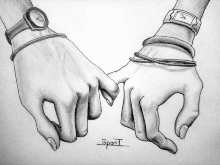 dibujos para parejas enamoradas, ideas de dibujos de anor y amistad, dedos entrelazados, ideas de dibujos con sombras, tecnicas de dibujar