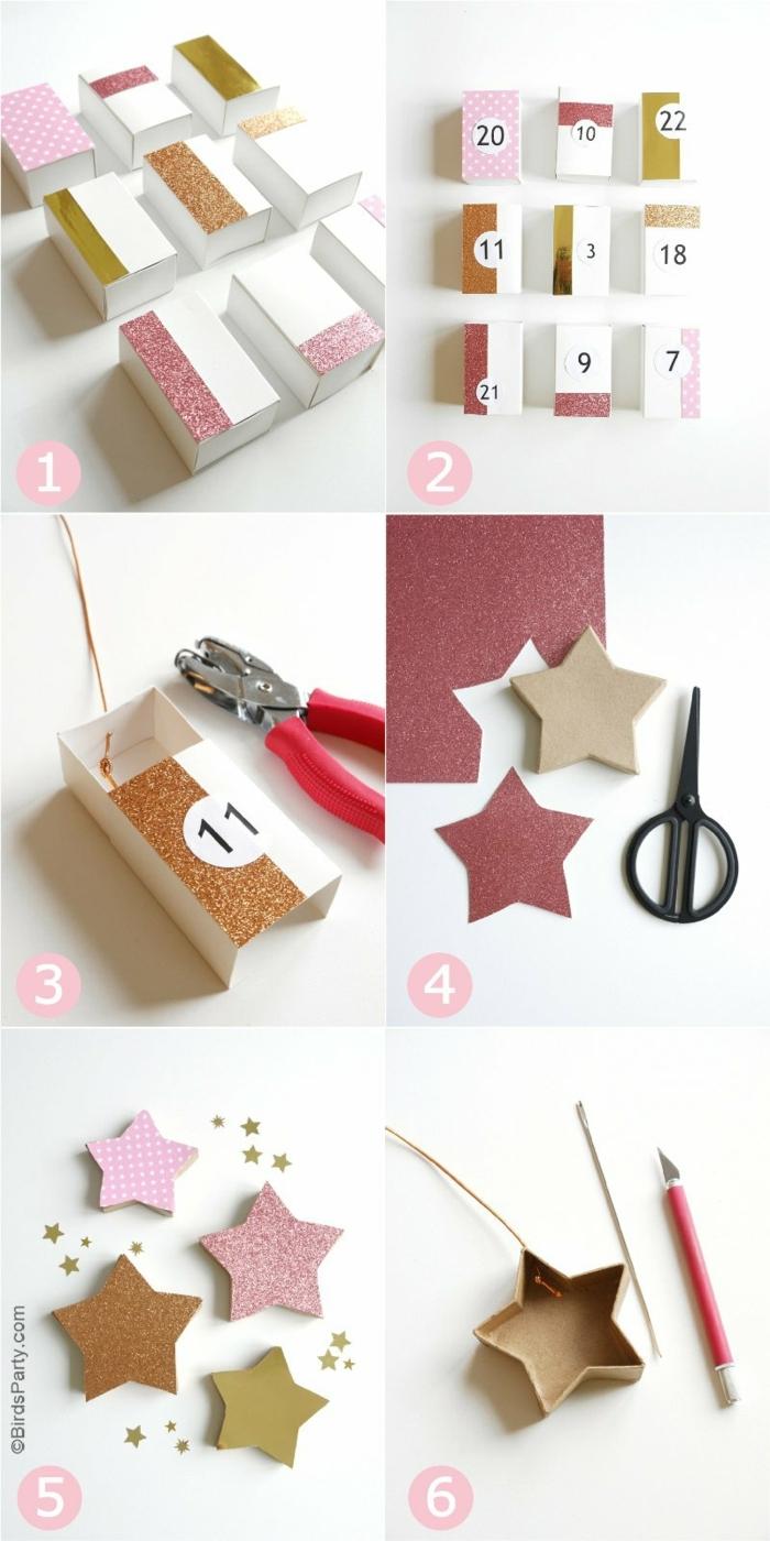 pasos para hacer un calendario DIY de cajas de papel maché, ideas de regalos personalizados para Navidad, regalo amigo invisible