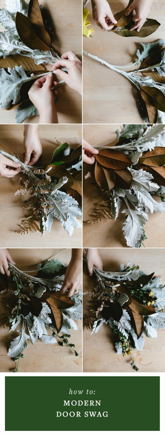 ideas sobre como hacer decoración navideña en estilo rústico, guirnaldas DIY para decorar la puerta, adornos navideños manualidades