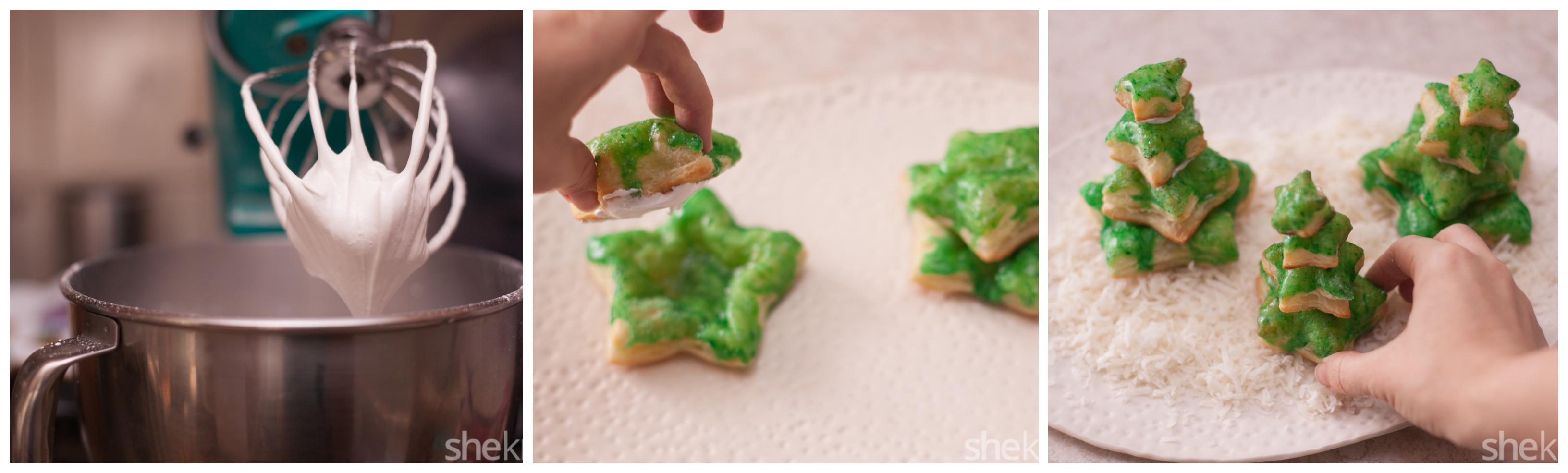 pasos para hacer postres faciles para navidad, como hacer galletas de hojaldre decoradas con colorante alimentario color verde