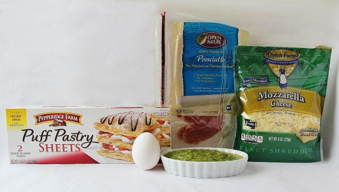 ingredientes para hacer unas empanadas con hojaldre caseras, recetas de navidad aperitivos fáciles, fotos de ingredientes
