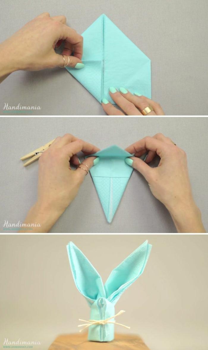 pasos para hacer un conejo de papel, ideas originales de manualidades paso a paso, conejo de papel color azul