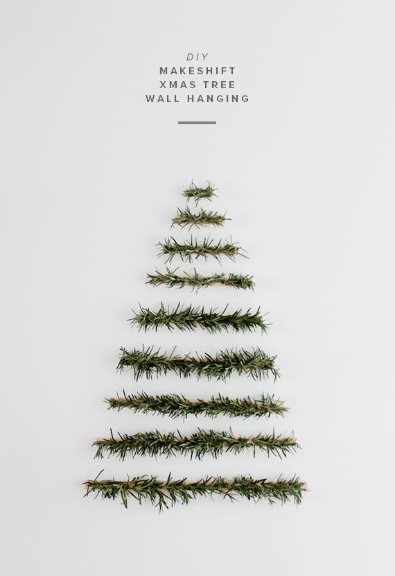 bonitas ideas y fotos de arboles de navidad, árbol de Navidad en estilo minimalista con ramas de pino fresco, ideas de manualidades navideñas