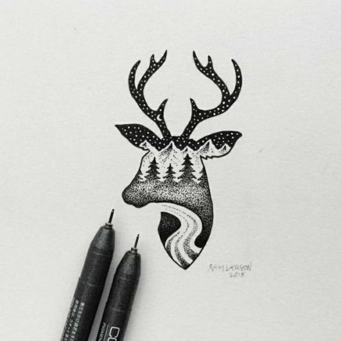 precioso detalle para dibujar en casa con sharpie, dibujo de ciervo con detalles de naturaleza, ideas de dibujos de renos