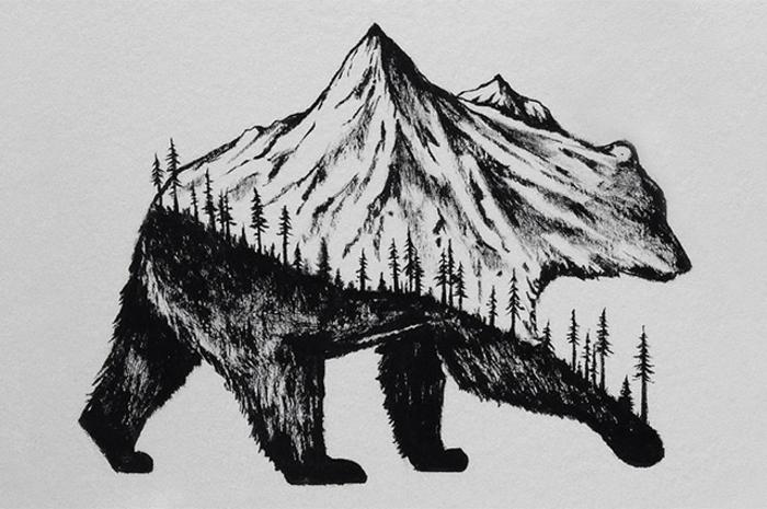 los mejores dibujos de animales con elementos de naturaleza, ideas de dibujos de bosques y montañas, imagenes que inspiran