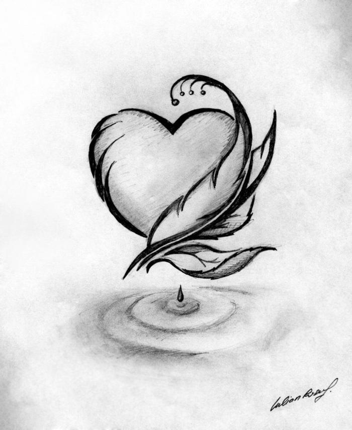 precioso corazón ornamentado, ejemplos de dibujos chulos y dibujos kawaiis para copiar, dibujos sin color bonitos