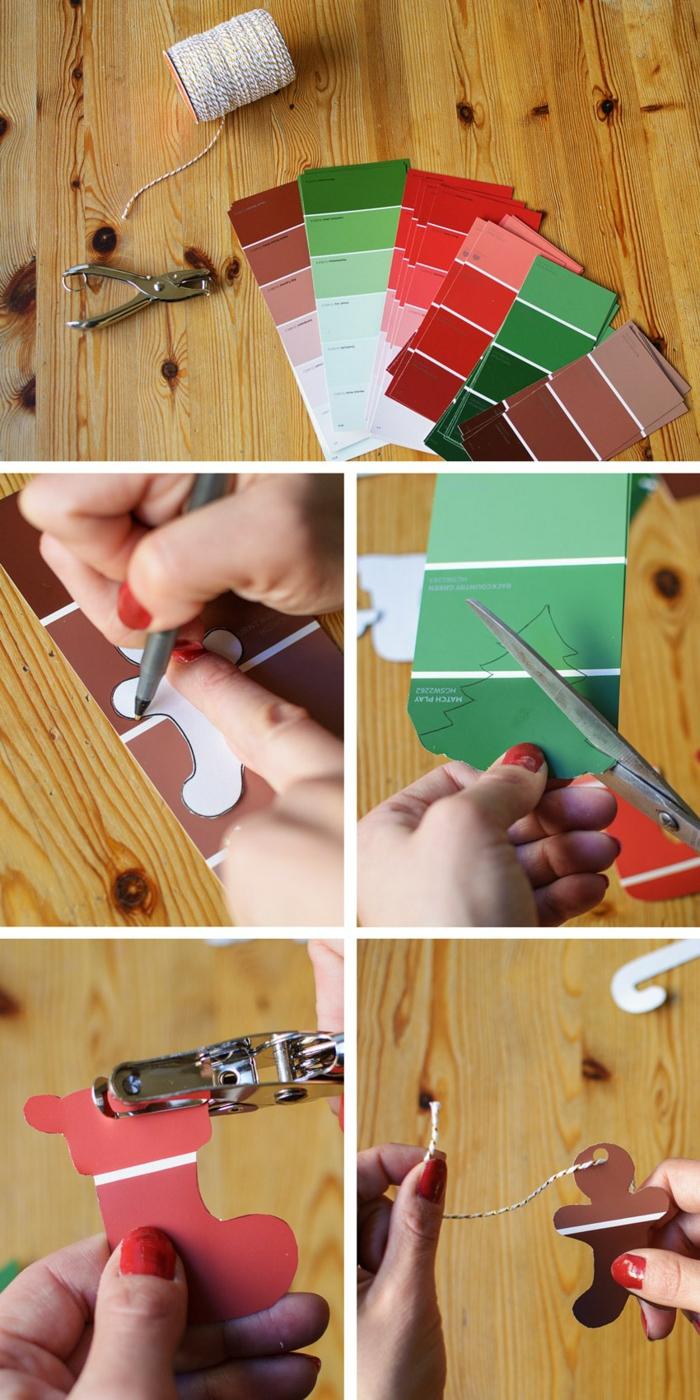 pasos sobre como hacer una corona navideña de papel, manualidades de papel en tutoriales en fotos paso a paso