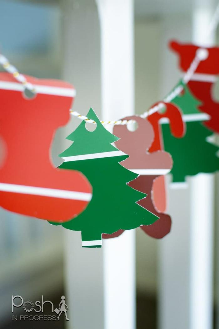 guirnaldas decorativas de papel y cartulina, ideas de manualdiades navideñas para niños y adultos, fotos de coronas DIY