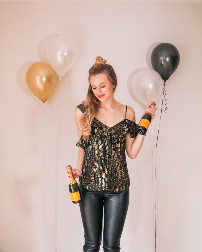 fantásticas ideas de outfit para el año nuevo, vestidos para fin de año y prendas elegantes, blusa con brillo y hombros descubiertos