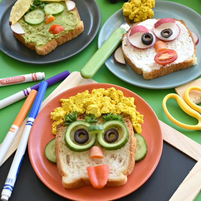 desayunos divertidos y recetas faciles para niños, tostadas decoradas caras divertidas, tostadas fáciles de hacer con verduras